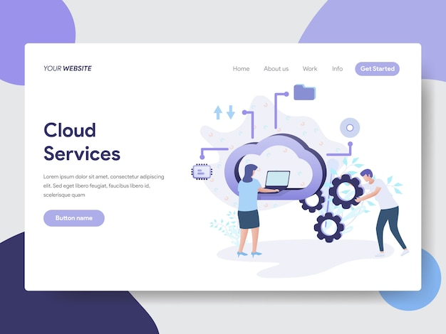 Cloud-services-illustration für webseiten