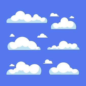 Cloud-set im flachen design