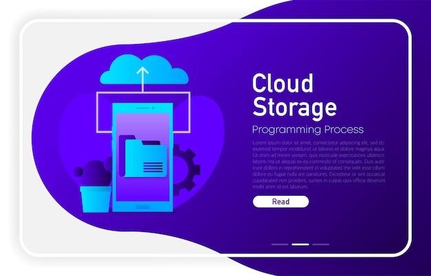 Cloud-speicher auf dem telefonbildschirm in dunkler farbverlaufsfarbe. browser fenster. vektor-illustration.