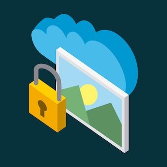 Cloud-speicher foto vorhängeschloss daten speichern