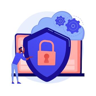 Cloud-speicher-idee. online-computing. internetdatenbank, sicherungsserver. programmierausrüstung. eingeschränkter zugriff, kontrollpass, datenschutzeinstellungen. vektor isolierte konzeptmetapherillustration