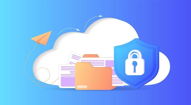 Cloud-speicher-idee schutz online-computinginternet-datenbank-backup-server eingeschränkter zugriff