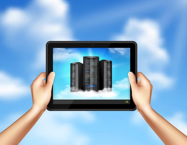 Cloud-speicher in händen, die tablette halten
