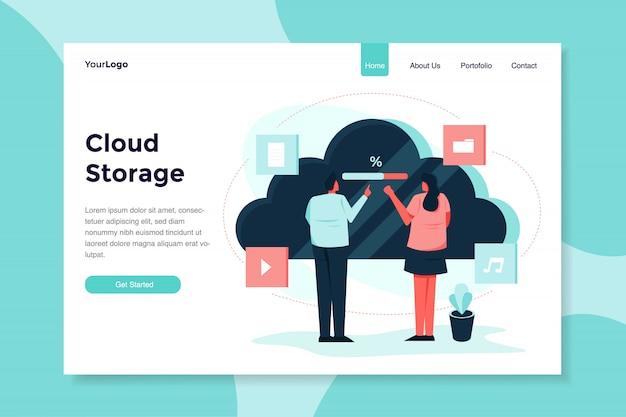 Cloud-speicher mit zwei jungen mann und frauen moderne flache illustration