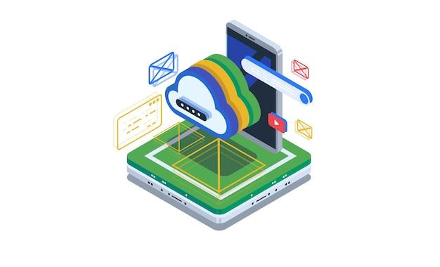 Cloud-speicher, zugriff auf die cloud über die smartphone-anwendung.