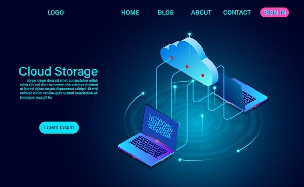 Cloud-speichertechnologie und netzwerkkonzept. online-computertechnologie. großes datenflussverarbeitungskonzept, vektorillustration