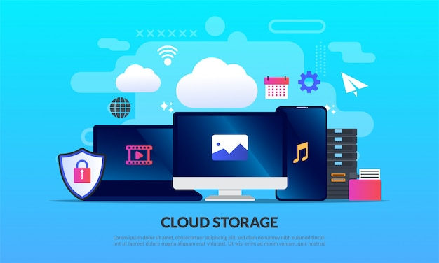 Cloud-speichertechnologie, vorlage