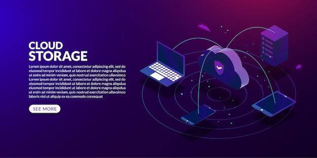 Cloud-speichertechnologiekonzept, isometrisches cloud-computing auf dunklem hintergrund