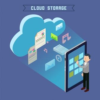 Cloud storage isometrische computertechnologie