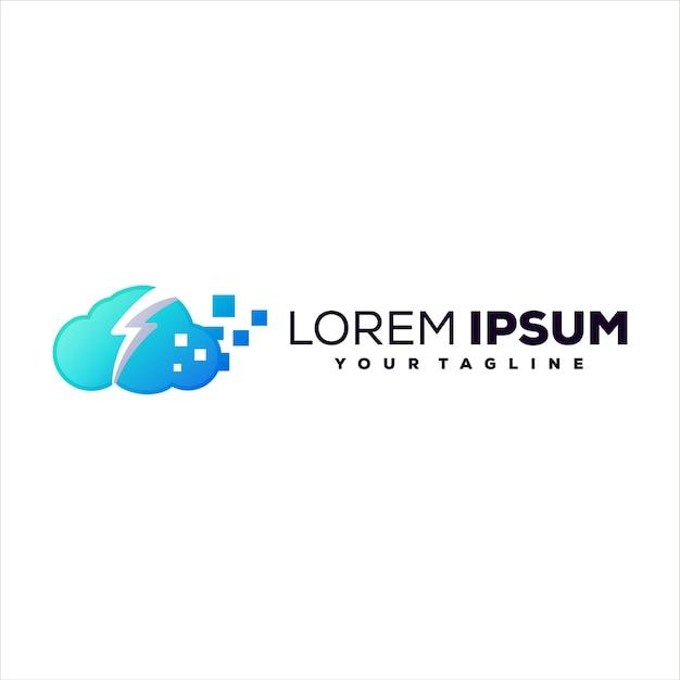 Cloud tech gradient logo design