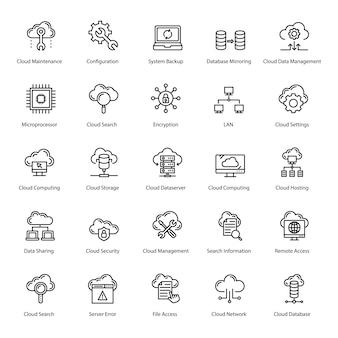 Cloud-technologie linie icons pack
