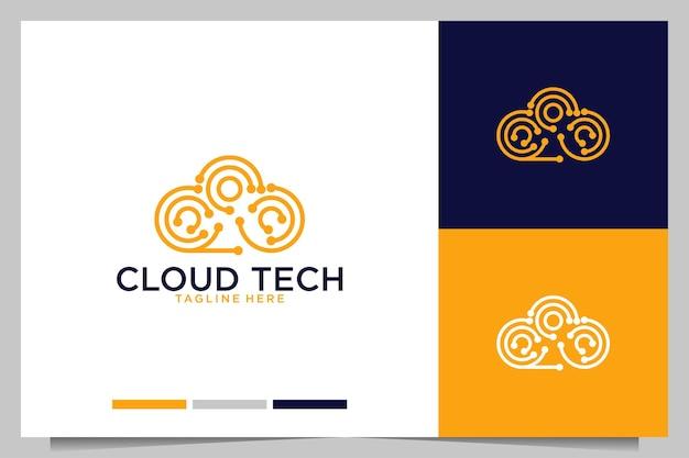 Cloud-technologie-liniengrafik-logo-design