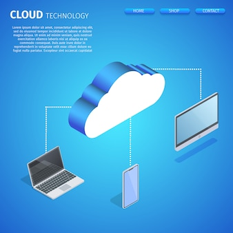 Cloud technology square banner vorlage