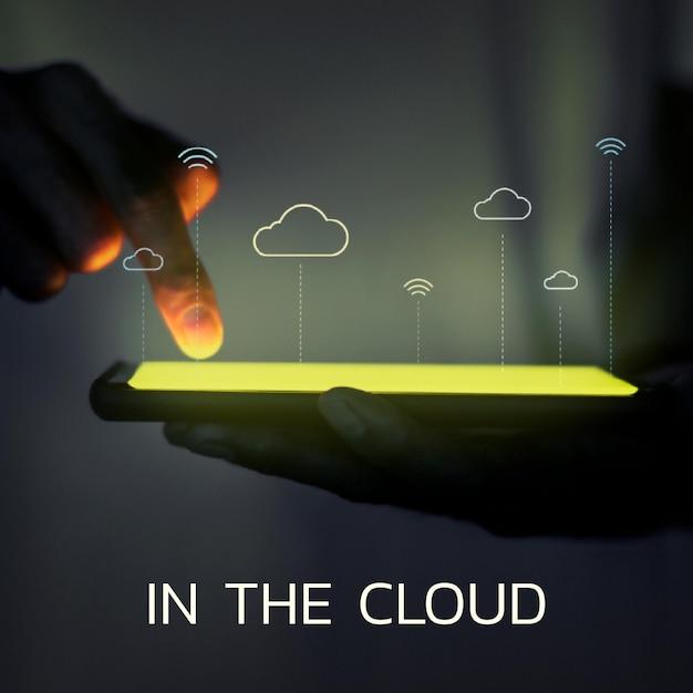 Cloud-vorlage auf futuristischer hologramm-technologie für social-media-beiträge