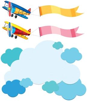 Cloud-vorlage und zwei flugzeuge mit flaggen Premium Vektoren