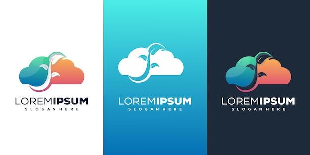 Cloude mit leafe moderne logo-vorlage
