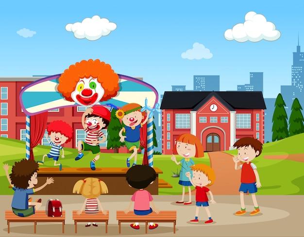 Clown-bühnenszene