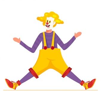 Clown-charakter-design mit gelbem haar, roter nase und lustigem kostüm. mann tanzt oder macht leistung.
