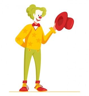 Clown-charakter-design mit grünem haar, roter nase und lustigem kostüm.