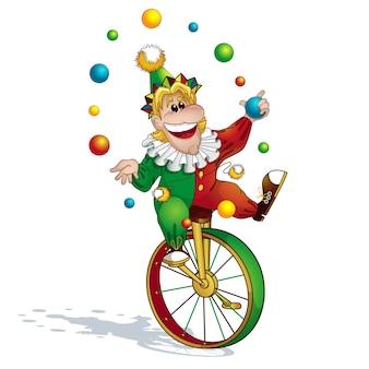 Clown jongleur auf einem einrad.