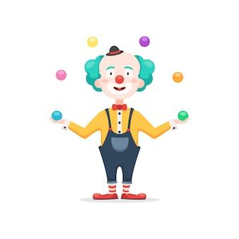 Clown jongliert mit farbigen bällen
