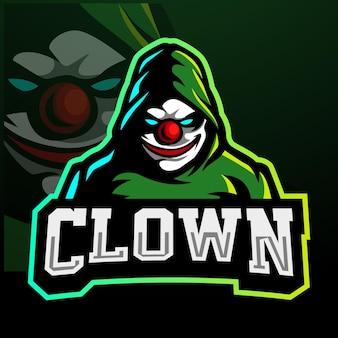 Clown maskottchen esport logo design
