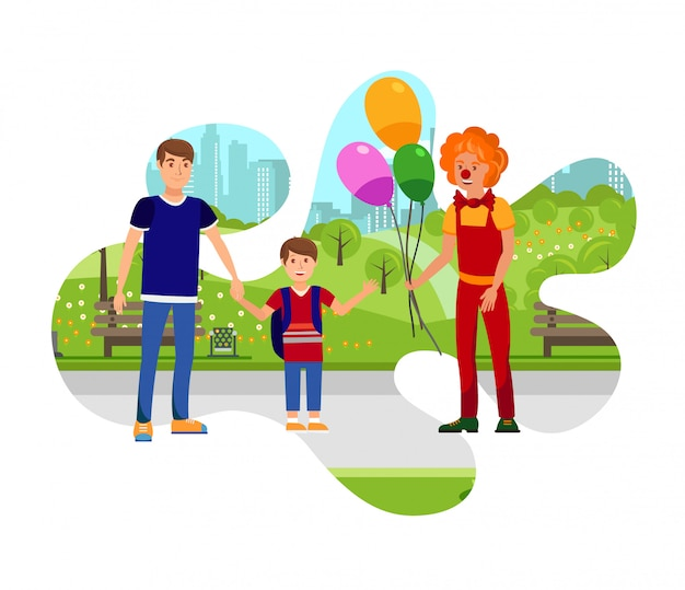 Clown mit ballonen in der park-farbillustration