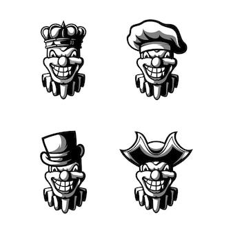 Clown schwarz und weiß