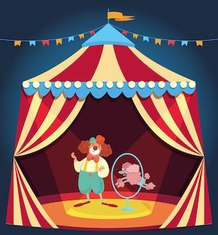 Clown zeigt leistung mit pudelhund, der durch reifen springt. zirkuszelt mit bunten ammer verziert. unterhaltungskonzept. flaches design