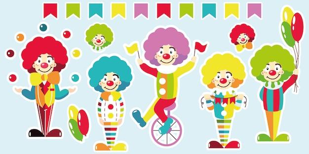 Clowns. set helle aufkleber.