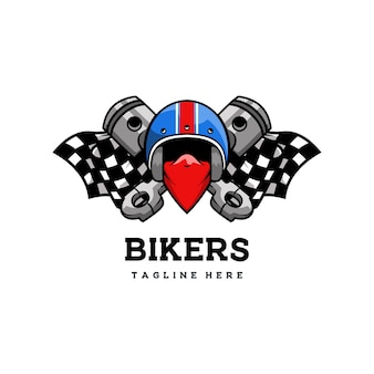 Club biker garage klassischer retro-abzeichen racer helm Premium Vektoren