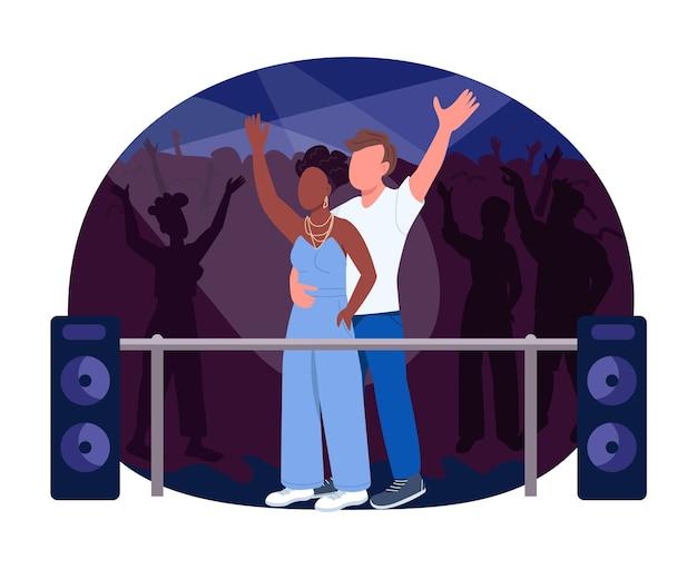 Club konzert 2d web banner, poster. nachtclub show. mann und frau sehen leistung. interracial paar flache zeichen auf cartoon hintergrund. druckbarer patch für das nachtleben, farbenfrohes webelement