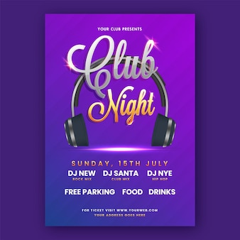 Club night party flyer-design mit realistischen kopfhörer- und veranstaltungsort-details in lila farbe.