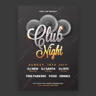 Club night party flyer design mit tieftönern und veranstaltungsdetails in schwarzer farbe.
