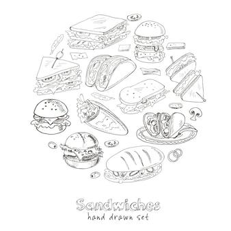 Club sandwich cheeseburger hamburger deli wrap roll taco baguette bagel toast