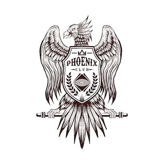 Club-vektorillustration des phoenix-handabgehobenen betrages