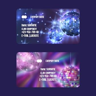 Clubausstattung für discothek oder geschäft visitenkarten-set das leben beginnt in der nacht