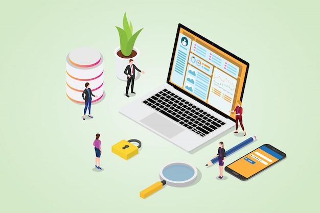 Cms-content-management-system-konzept mit laptop und website mit login auf smartphone Premium Vektoren