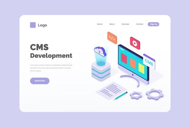 Cms-entwicklungskonzept im isometrischen stil