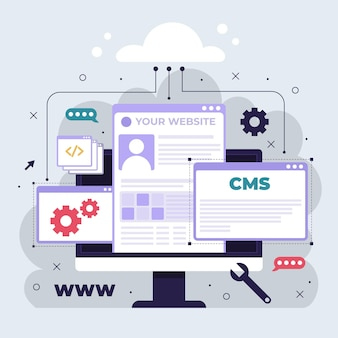 Cms illustrationskonzept mit computer