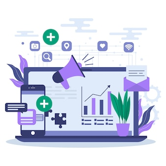 Cms illustrationskonzept mit laptop und apps