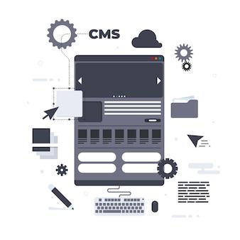 Cms-konzept im flachen design