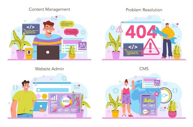 Cms-set. content-management-system. erstellung und bearbeitung von digitalen inhalten. idee der digitalen entwicklung und optimierung. cloud-technologie. flache vektorillustration