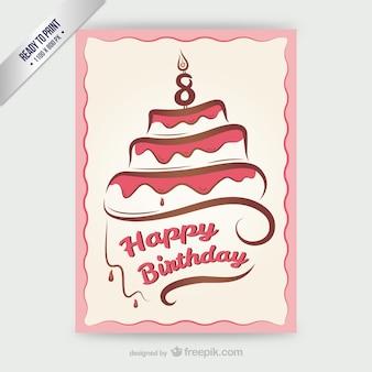 Cmyk happy birthday-karte mit kuchen