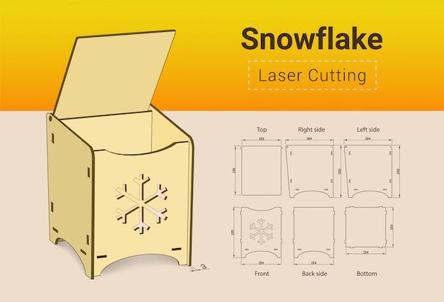 Cnc. laserschneidkasten. laserschnitt. kein leim nötig. für 3 mm sperrholz. größe 195x154x184 mm.
