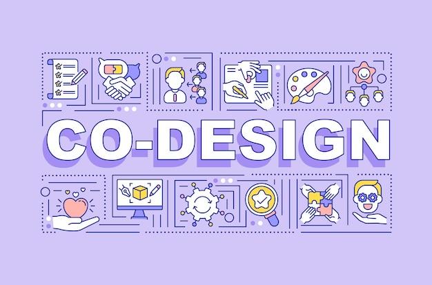 Co design wort konzepte banner. höhere kapitalrendite. infografiken mit linearen symbolen auf lila hintergrund. kundeninformationen. isolierte typografie. umriss rgb farbabbildung