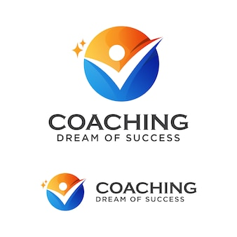 Coach erfolgslogo, coaching traum vom erfolg logo designvorlage
