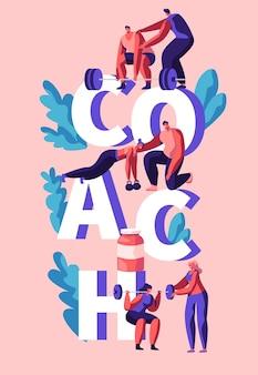 Coach fitness übung vertical banner. trainerassistent, personal training für mann und frau. bodybuilding lifting übung und aktion für den muskelkörper. flache karikatur-vektor-illustration