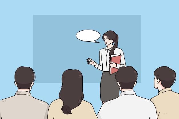 Coach präsentation und business präsentation konzept Premium Vektoren