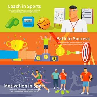 Coaching sport banner set